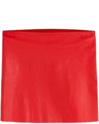 Красная кожаная мини-юбка