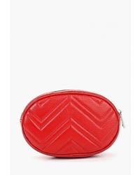 Красная кожаная поясная сумка от Dimanche