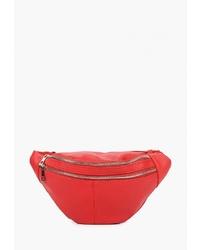 Красная кожаная поясная сумка от Modis