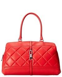 Красная кожаная стеганая сумка-саквояж