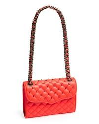 Красная кожаная стеганая сумка через плечо