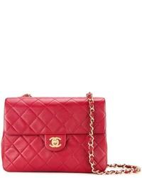 Женская красная кожаная стеганая сумка через плечо от Chanel