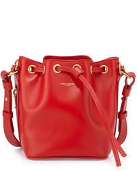 Красная кожаная сумка-мешок