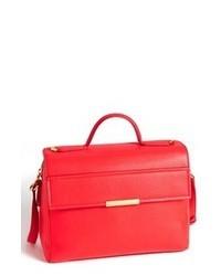 Красная кожаная сумка-саквояж
