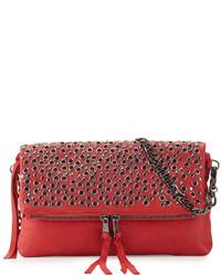 Красная кожаная сумка через плечо с шипами