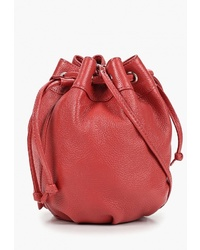 Красная кожаная сумка через плечо от D.Angeny
