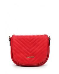Женская красная кожаная сумка через плечо от David Jones