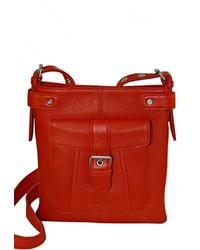 Красная кожаная сумка через плечо от Duffy