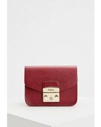 Красная кожаная сумка через плечо от Furla