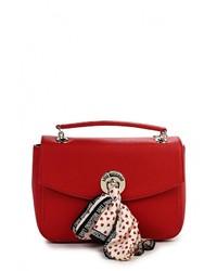 Женская красная кожаная сумка через плечо от Love Moschino