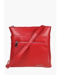 Красная кожаная сумка через плечо от Sergio Belotti