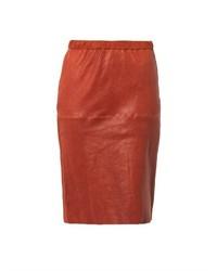 Красная кожаная юбка-карандаш