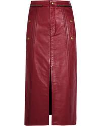 Красная кожаная юбка-карандаш от Chloé