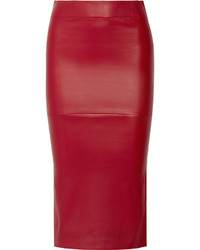 Красная кожаная юбка-карандаш от Zero Maria Cornejo