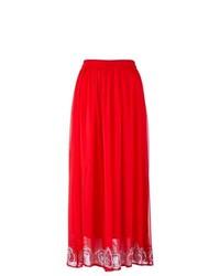 Красная кружевная длинная юбка