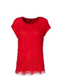 Красная кружевная футболка с круглым вырезом
