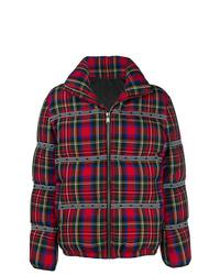 Мужская красная куртка-пуховик в шотландскую клетку от Versace