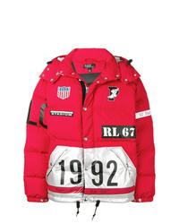 Мужская красная куртка-пуховик с принтом от Polo Ralph Lauren