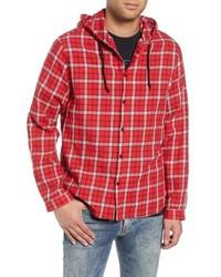 Красная куртка-рубашка в шотландскую клетку
