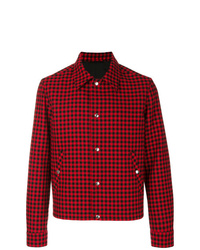 Мужская красная куртка-рубашка в шотландскую клетку от AMI Alexandre Mattiussi