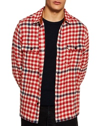 "Красная куртка-рубашка с узором ""гусиные лапки"""