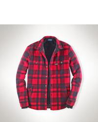 Красная куртка с воротником и на пуговицах