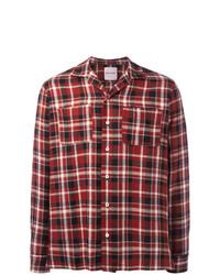 Мужская красная льняная рубашка с длинным рукавом в шотландскую клетку от Palm Angels