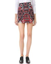 Красная мини-юбка с принтом от Holly Fulton
