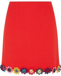 Красная мини-юбка с цветочным принтом от Mary Katrantzou