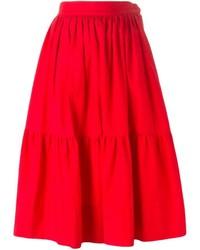 Красная пышная юбка от Saint Laurent