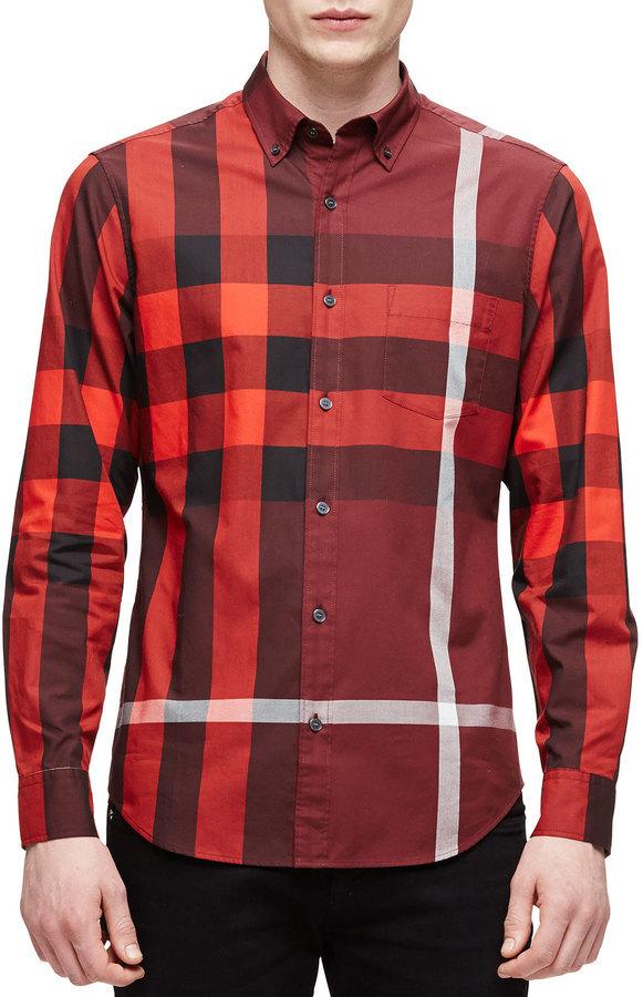 494d201db97f Мужская красная рубашка с длинным рукавом в клетку от Burberry   Где ...