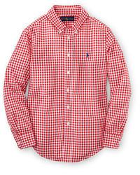Красная рубашка с длинным рукавом в мелкую клетку