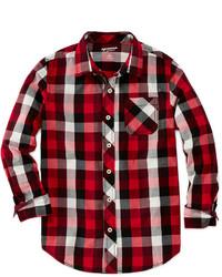 Красная рубашка с длинным рукавом в шотландскую клетку