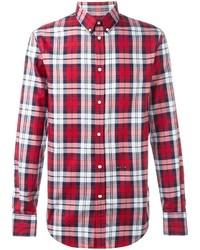 Мужская красная рубашка с длинным рукавом в шотландскую клетку от DSQUARED2