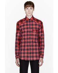 Мужская красная рубашка с длинным рукавом в шотландскую клетку от Givenchy