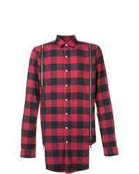Мужская красная рубашка с длинным рукавом в шотландскую клетку от Mostly Heard Rarely Seen