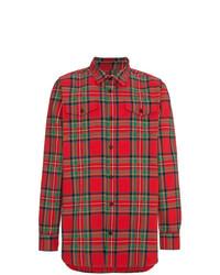 Мужская красная рубашка с длинным рукавом в шотландскую клетку от Off-White