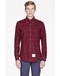 Мужская красная рубашка с длинным рукавом в шотландскую клетку от Thom Browne