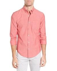 Красная рубашка с длинным рукавом из шамбре