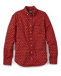 Красная рубашка с длинным рукавом с принтом