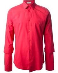 Красная рубашка с длинным рукавом