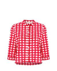 Женская красная рубашка с коротким рукавом в клетку от Marni