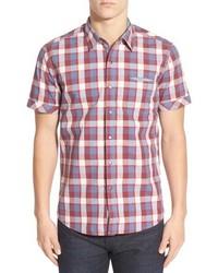 Красная рубашка с коротким рукавом в шотландскую клетку