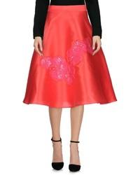 Красная сатиновая пышная юбка