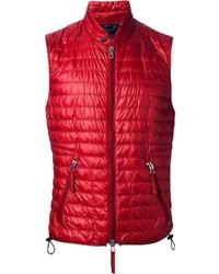 Красная стеганая куртка без рукавов