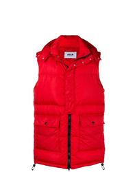 Мужская красная стеганая куртка без рукавов от MSGM