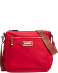 Красная сумка через плечо из плотной ткани