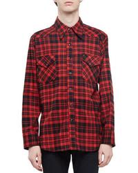 Красная фланелевая рубашка с длинным рукавом в клетку
