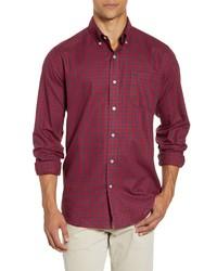 Красная фланелевая рубашка с длинным рукавом в мелкую клетку