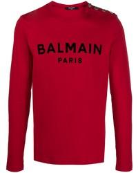 Мужская красная футболка с длинным рукавом с принтом от Balmain